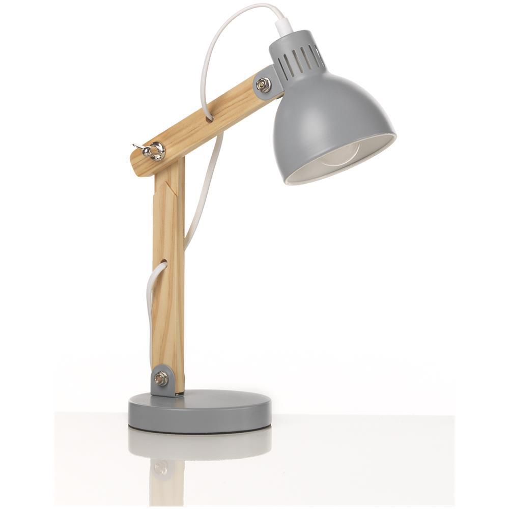 Onli Lampada Da Tavolo Regolabile In Legno Con Base E Cupola In Metallo Laccato Grigio Eprice