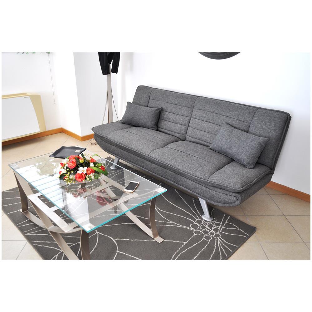 Samira - Divano letto clic clac in tessuto grigio, divano 3 posti ...