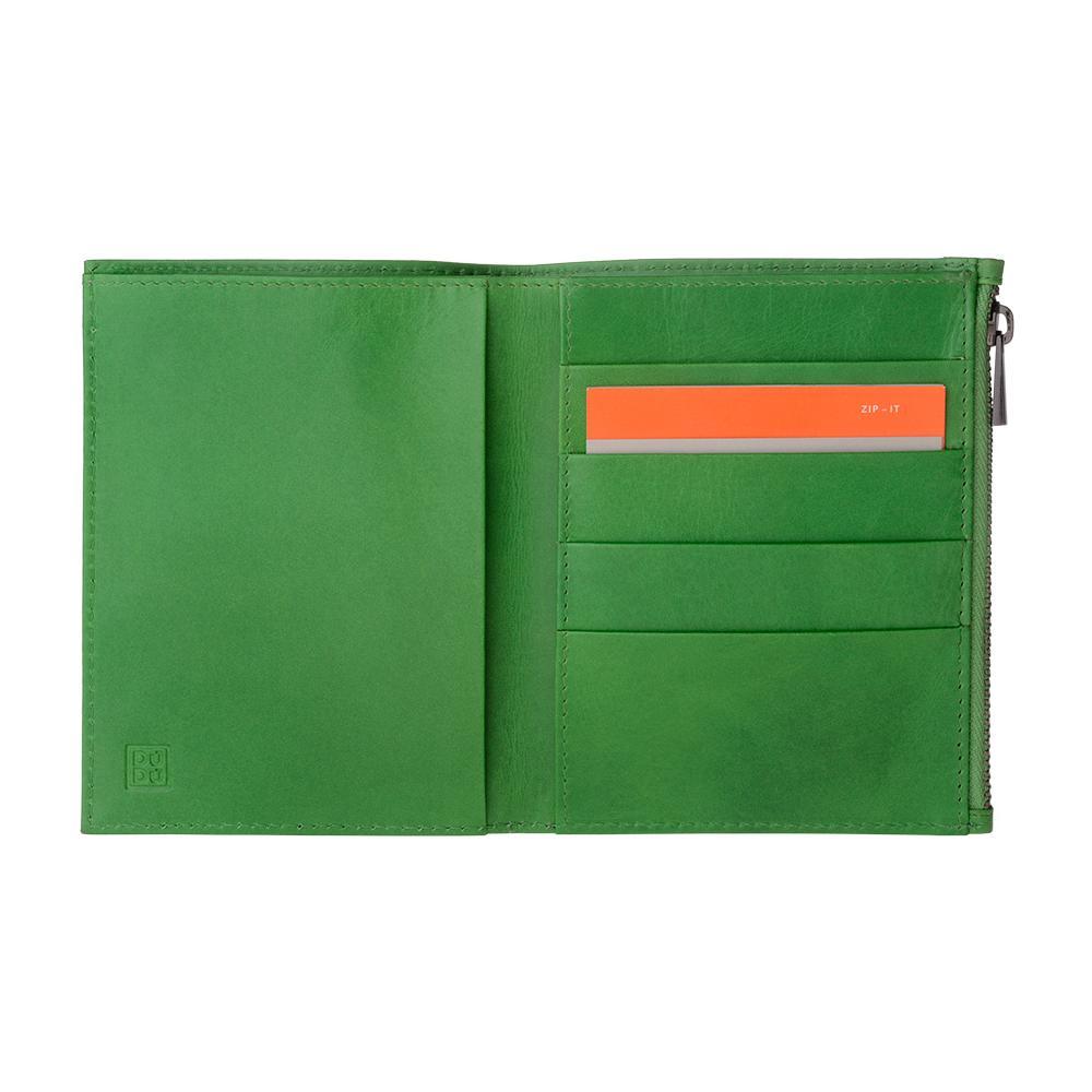 e52ffda789 DuDu - Portafoglio Uomo In Vera Pelle Formato Verticale Slim Porta Carte  Con Zip Adatto A Carta D'identità Verde - ePRICE