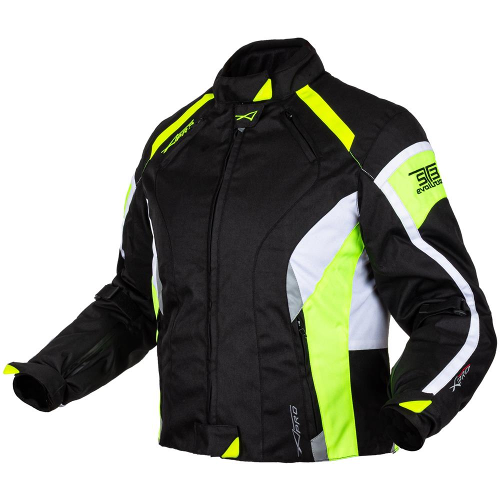 Donna Giacca Moto Tessuto Impermeabile Traspirante Riflettente Fluo XL
