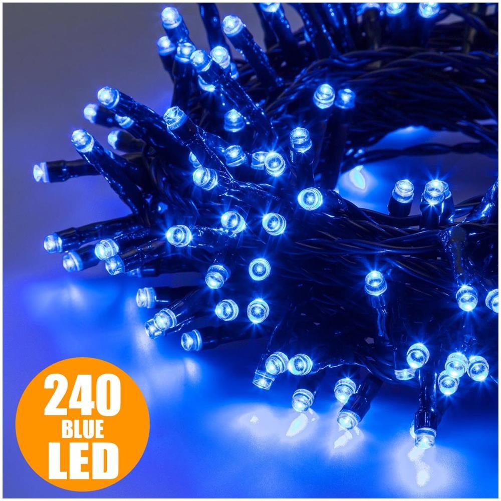 Catena Luminosa Per Foto bakaji catena luminosa natale 240 luci a led blu per interno ed esterno con  giochi luce