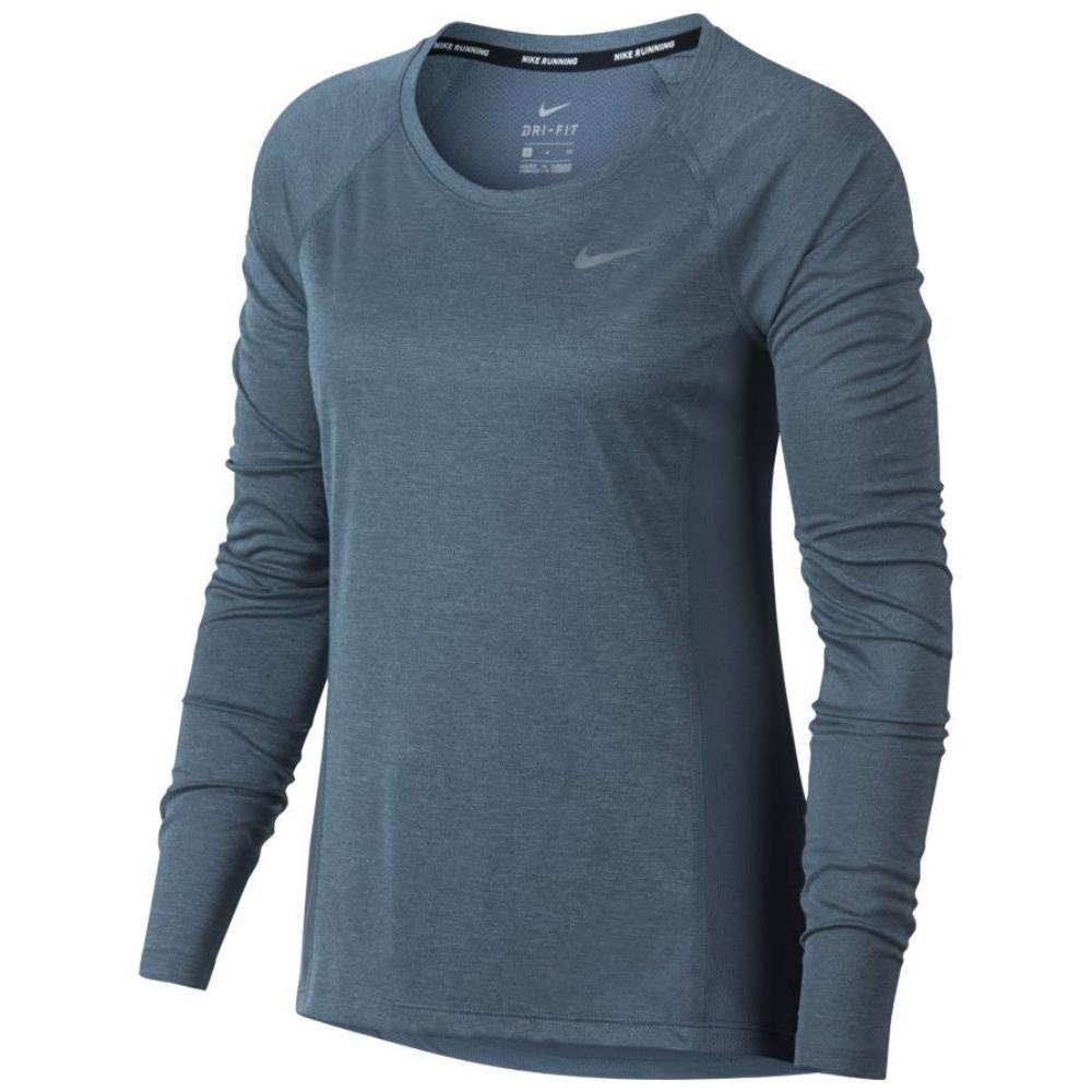 NIKE T shirt Donna Manica Lunga Running Dry Miler Taglia: M Colore: Blu