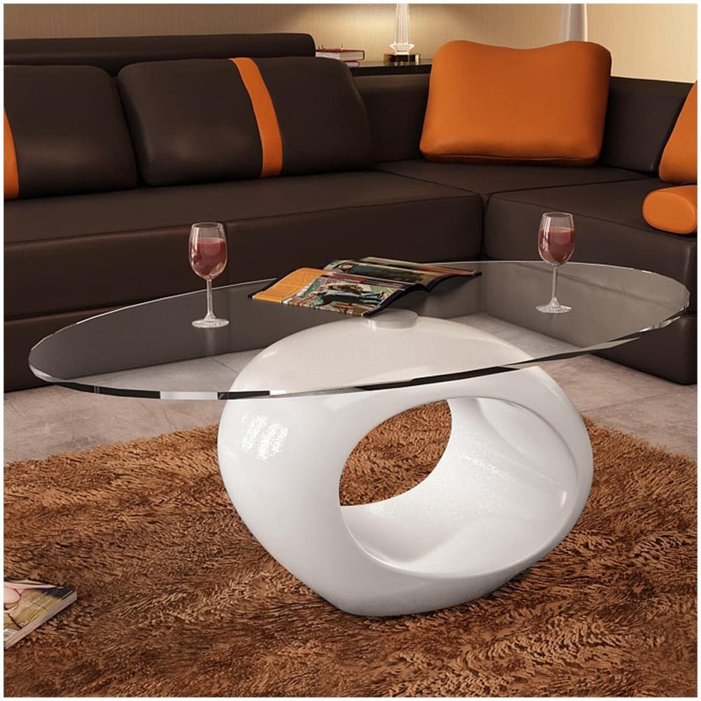 Tavolini Da Salotto In Vetro Design.Vidaxl Tavolino Salotto Moderno Vetro Design Bianco Ovale