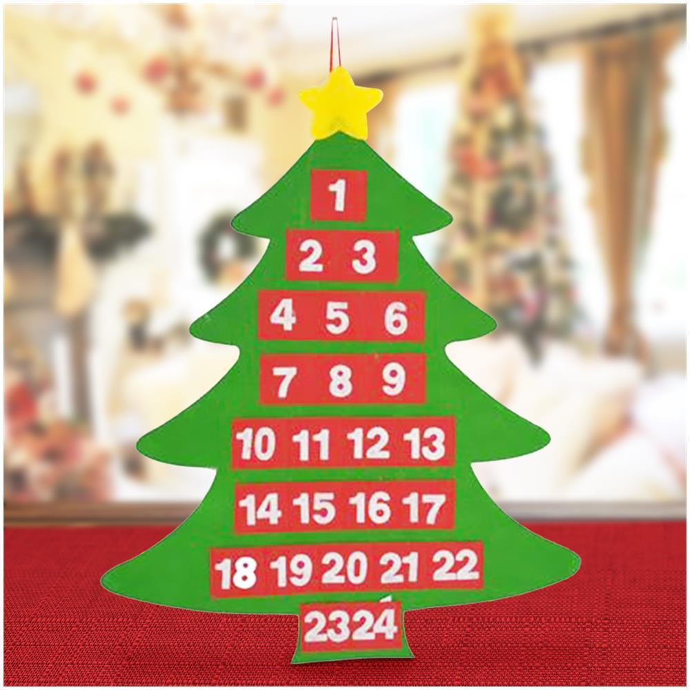 Alberi Di Natale Decorati.Bakaji Calendario Avvento Albero Di Natale Feltro Con Tasche Decorazioni Natalizie 54cm Eprice