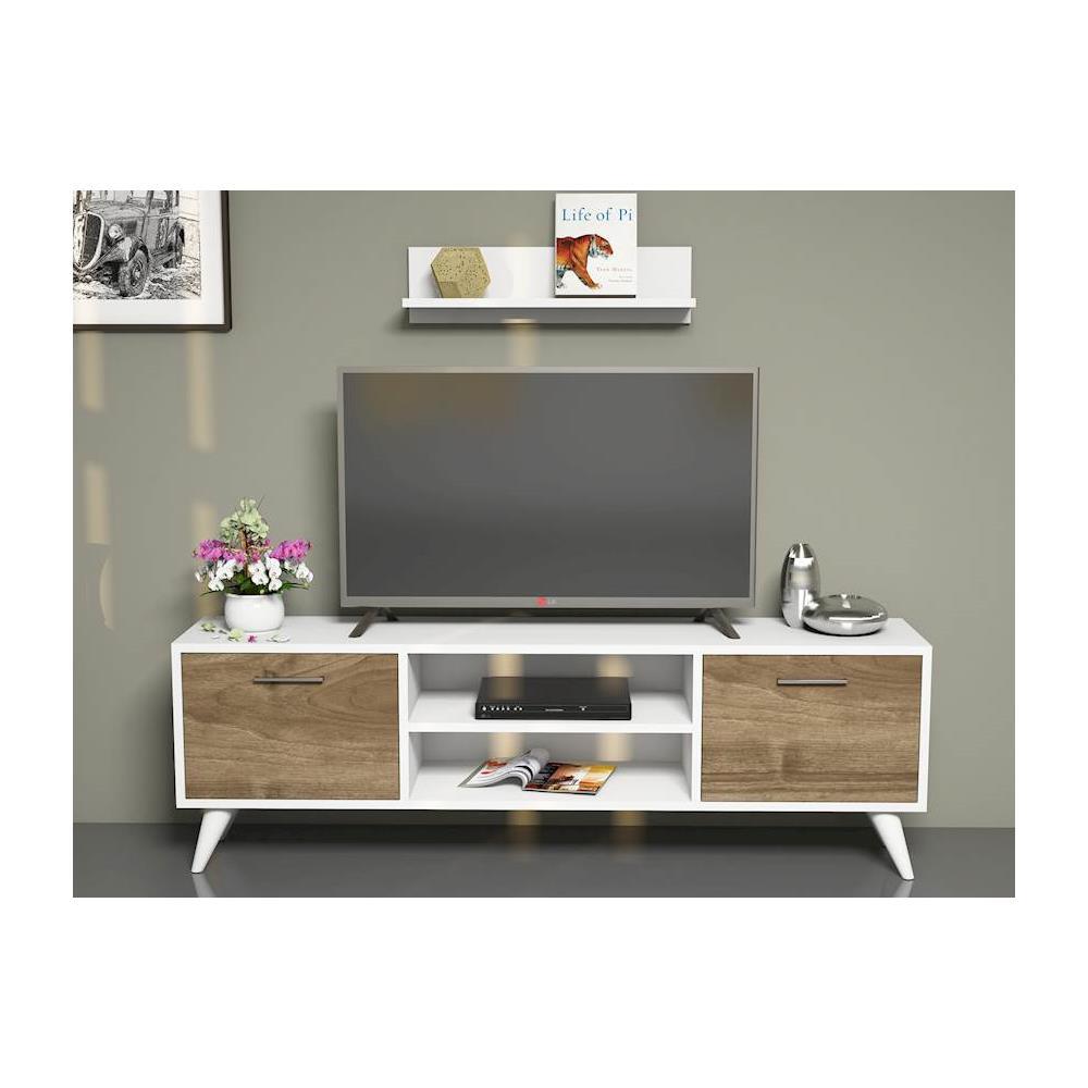 Homemania Mobile Porta Tv Cd Ripiani Supporto Horus Bianco Legno Scuro-casa  Arredo Design - Per Soggiorno - Porta, Mensole, Ripiani, Supporto, ...