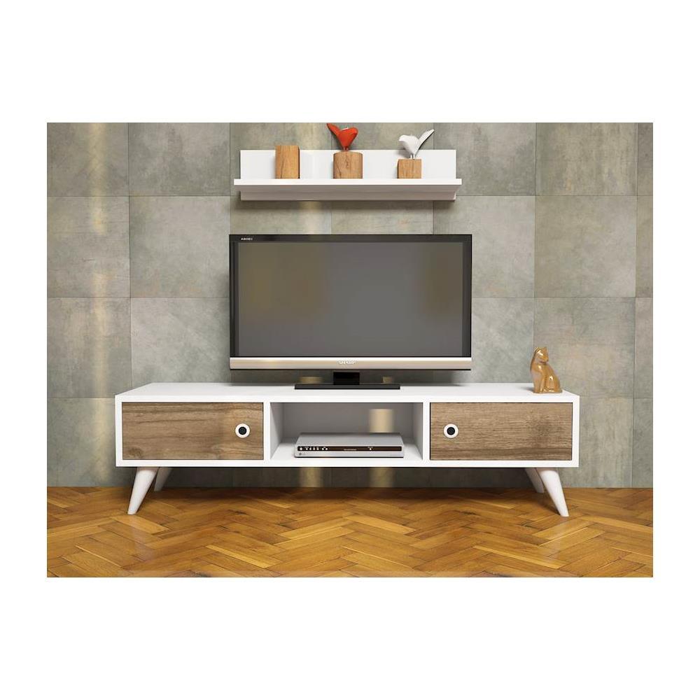 Homemania Mobile Porta Tv Cd Ripiani Supporto Aspen Bianco Legno Scuro Casa Arredo Design Per Soggiorno Porta Mensole Ripiani Supporto Componibile Eprice