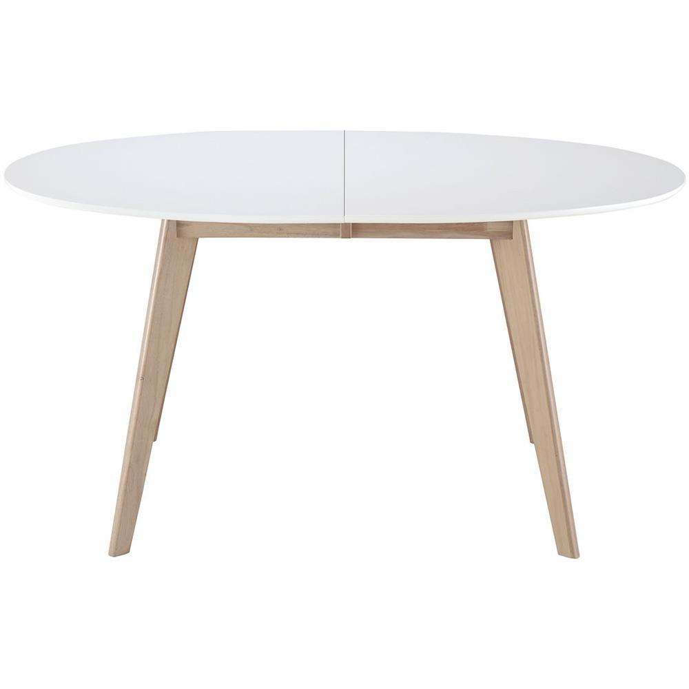 miliboo Tavolo Allungabile Ovale Bianco E Legno Chiaro L150-200 Leena