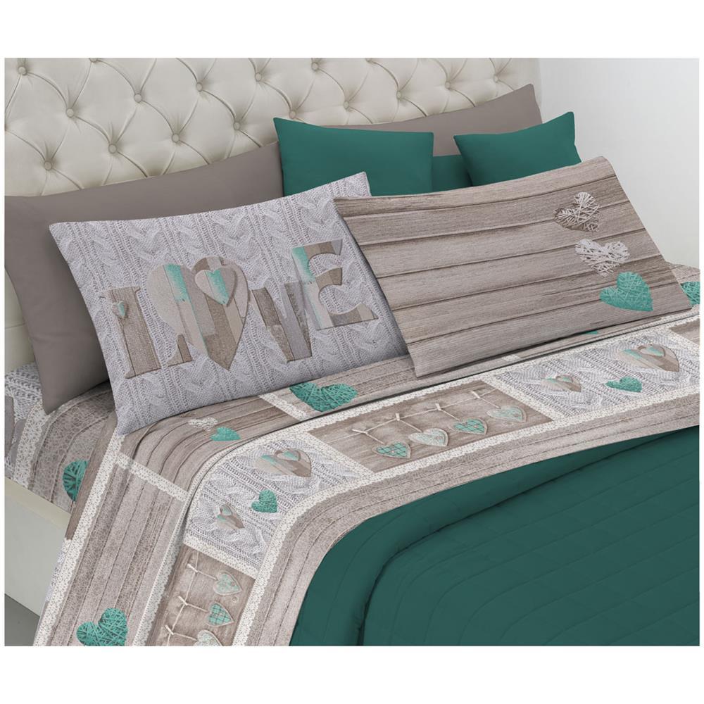 3b253dc708 BIANCHERIAWEB Completo Lenzuola Linea Pensieri Delicati In 100% Cotone  Disegno Shabby Love Matrimoniale Verde