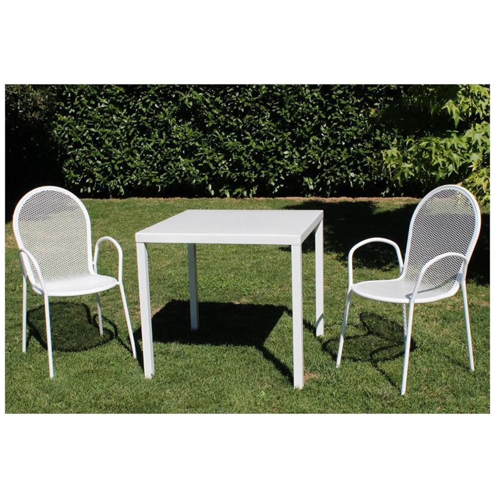 Bianco Set Tavolo e 2 Panche Symbiosis Clark 73 x 110 x 70 cm