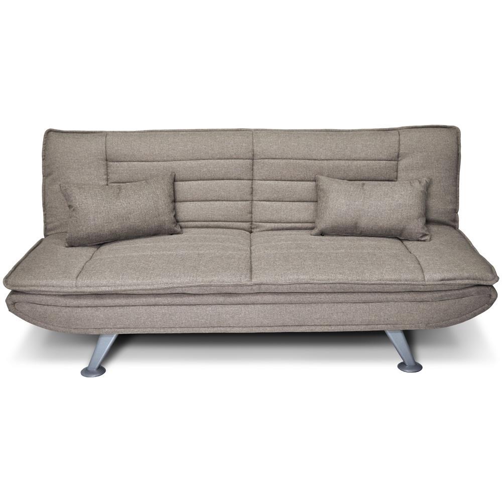 Samira - Divano letto clic clac in tessuto tortora, divano 3 posti ...