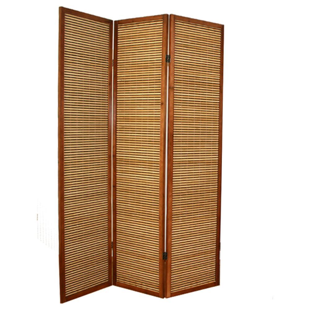 PEGANE - Paravento In Legno Marrone Bambù Di 3 Pannelli - ePRICE
