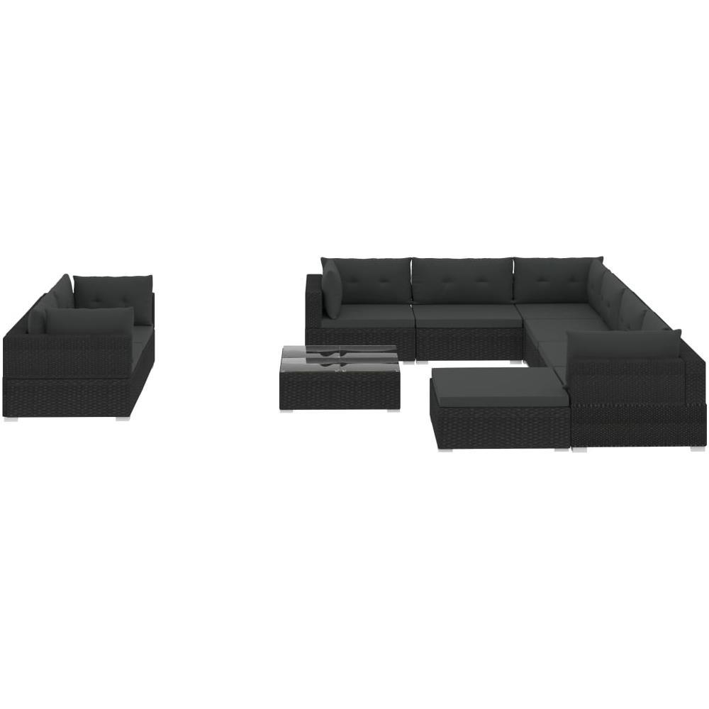 Divani Da Esterno Impermeabili vidaxl set divani da giardino 10 pz con cuscini in polyrattan nero