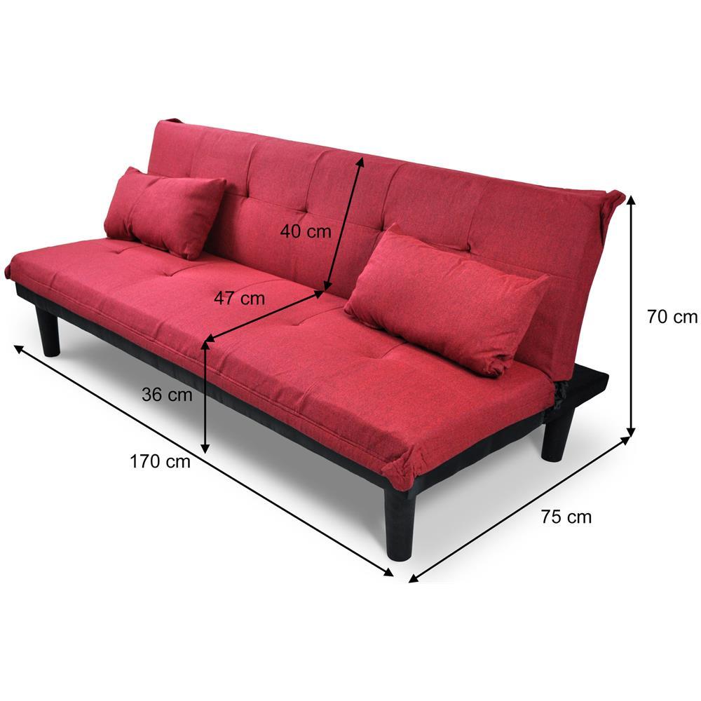 Samira - Divano letto clic clac in tessuto rosso, divanetto Russell ...