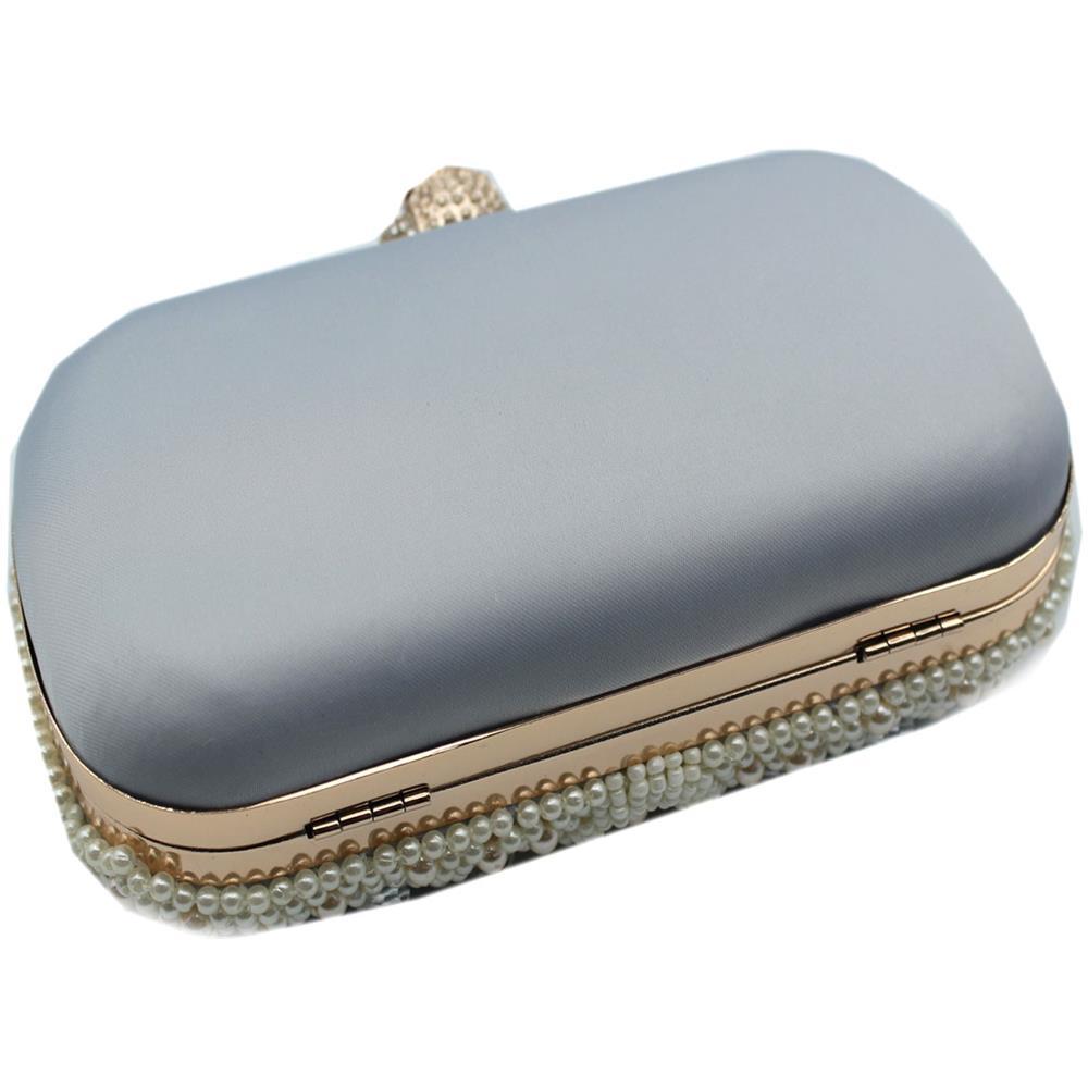 8757f78fa9 MICHELLE MOON Borsetta Donna Pochette Da Sera Clutch Con Perline Y4516 Blu