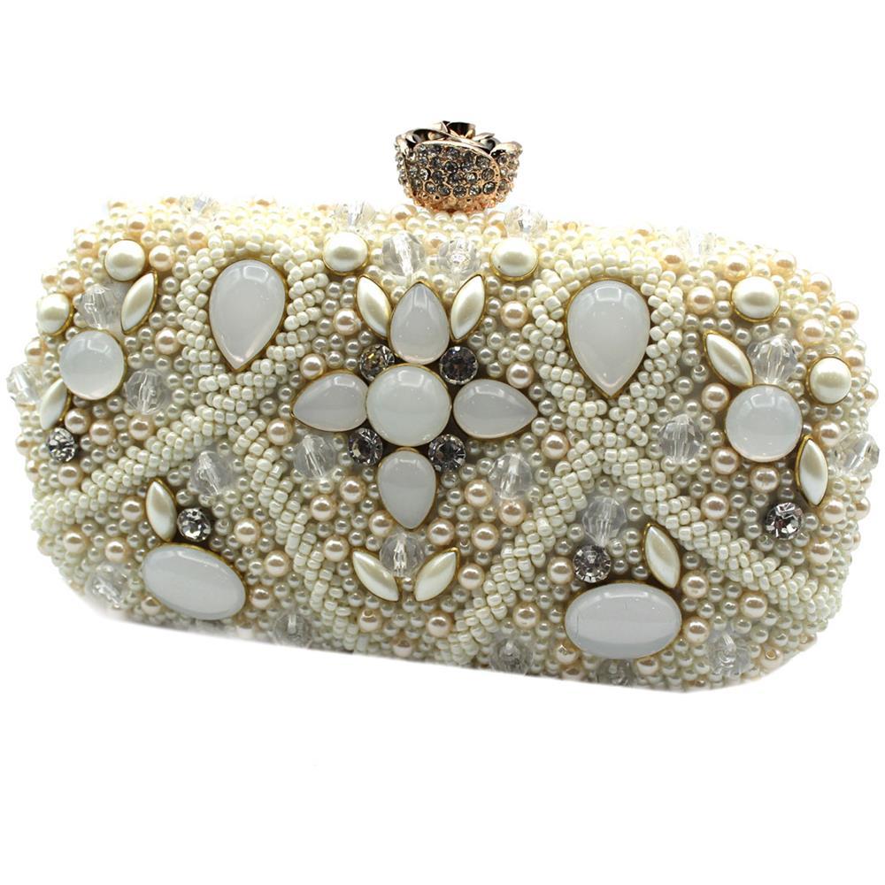 a17cf78803 MICHELLE MOON - Borsetta Donna Pochette Da Sera Clutch Con Perline Y4516  Bianco - ePRICE