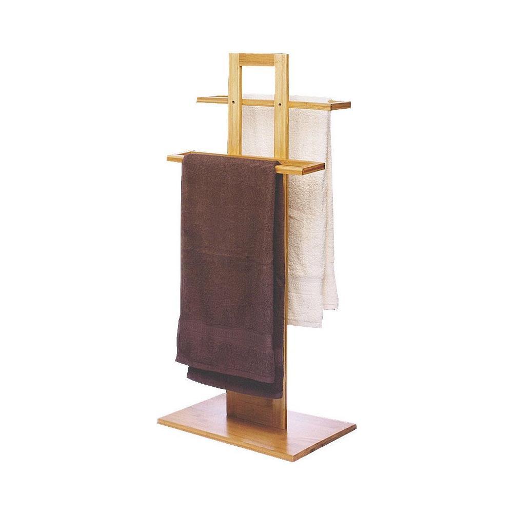 Appendi Asciugamani Da Muro bakaji porta asciugamani da terra in legno bambù 2 braccia piantana bagno  asciugamano