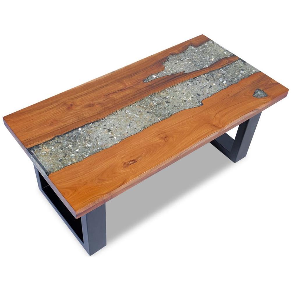 Tavolo Legno E Resina Prezzo vidaxl tavolino da caffè in legno di teak solido e resina 100x50 cm