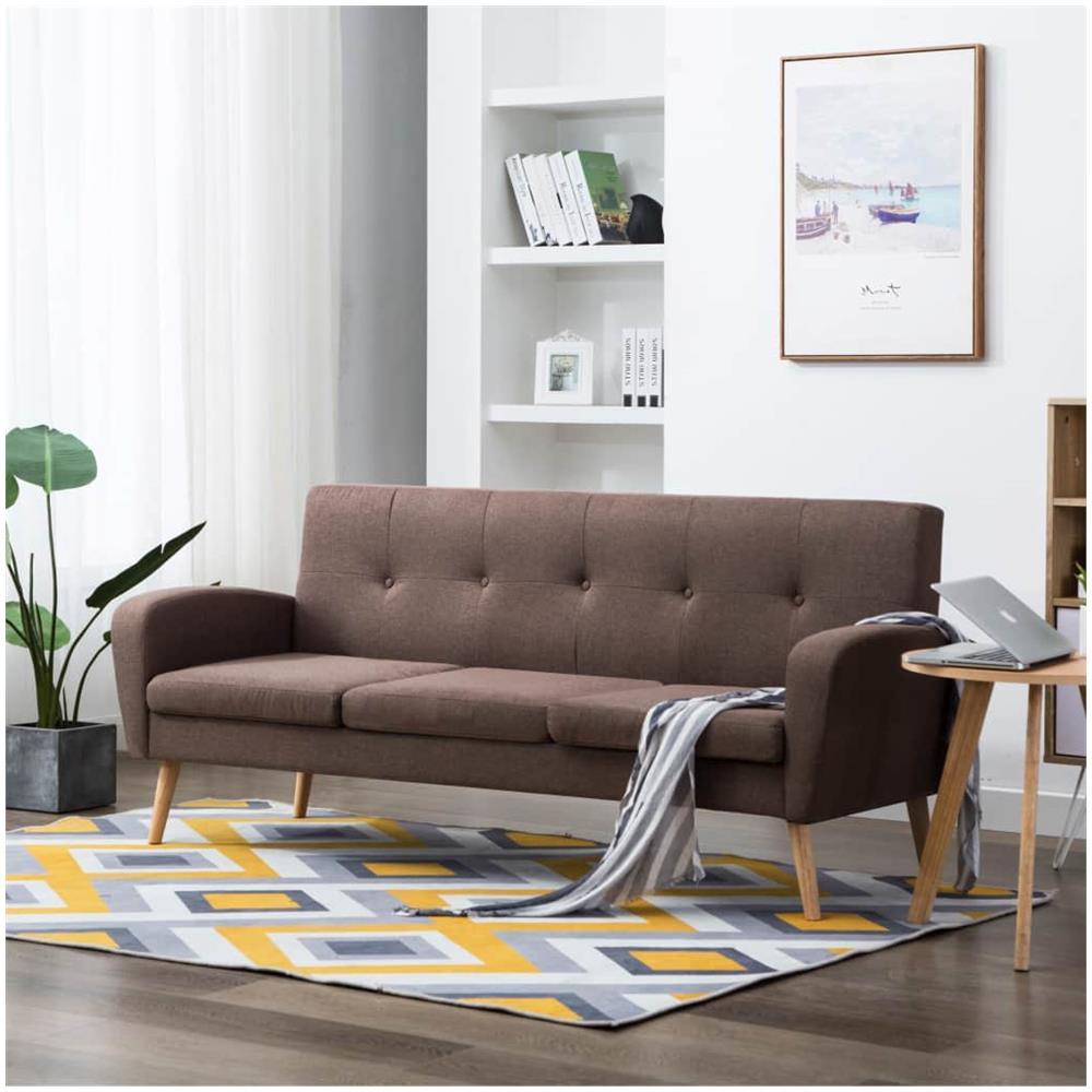 Cuscini Su Divano Marrone vidaxl divano a 3 posti in tessuto marrone