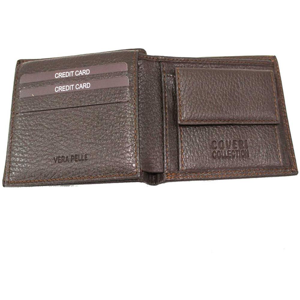 08cdf7012f COVERI COLLECTION Portafoglio Uomo Pelle Modello Piccolo Portamonete 217-992  Brw