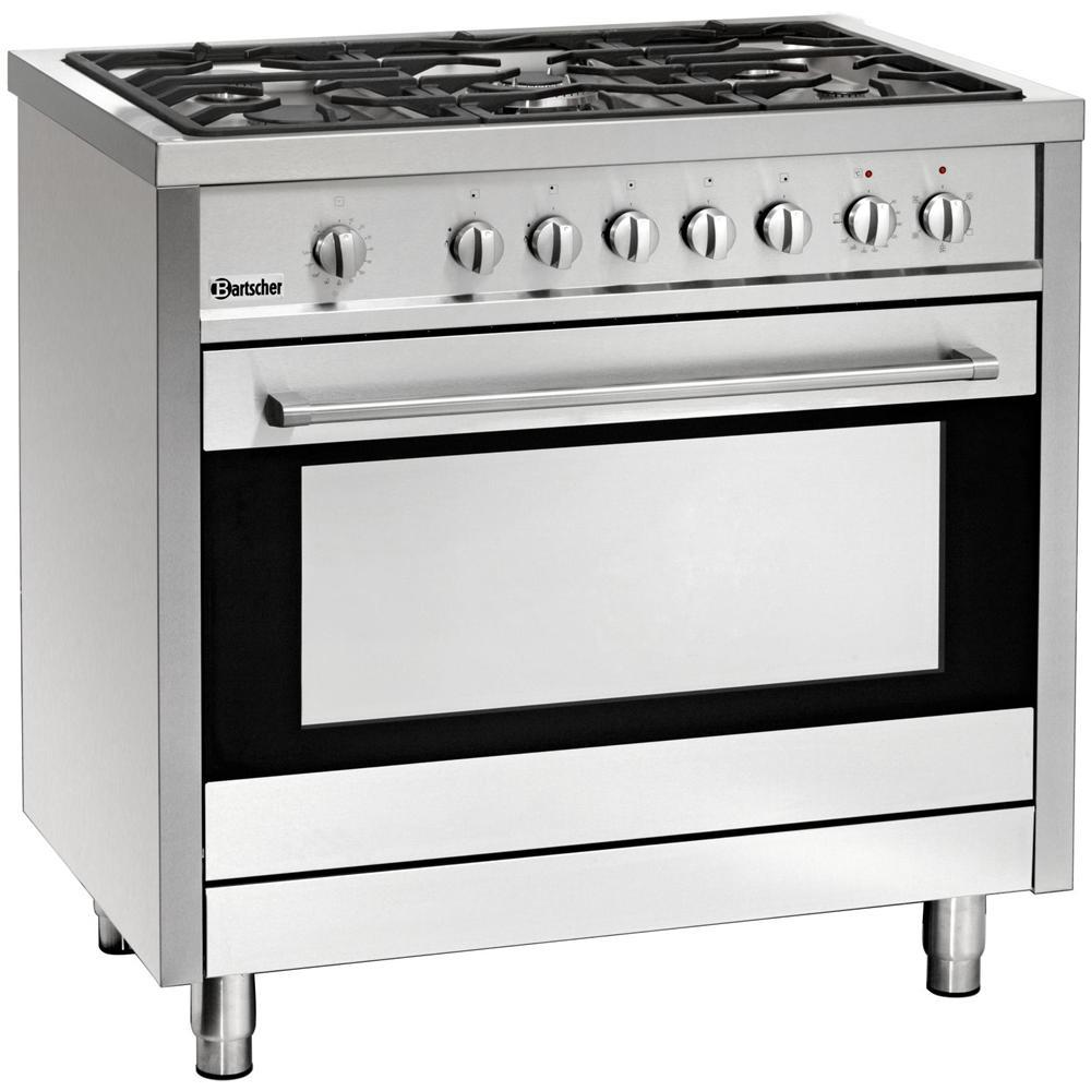 Bartscher - 1509851 Piano cottura a gas 5 fuochi con forno elettrico ...