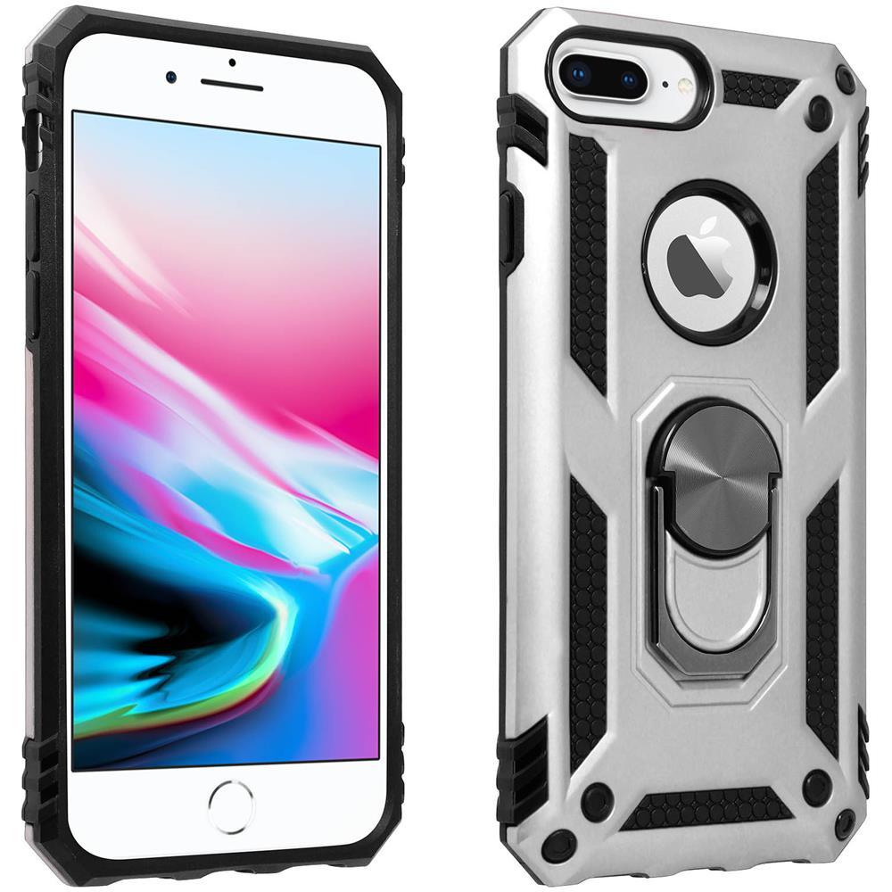 Avizar Cover Iphone 6 Plus / 6s Plus / 7 Plus / 8 Plus Anello Magnetico Stand Argento