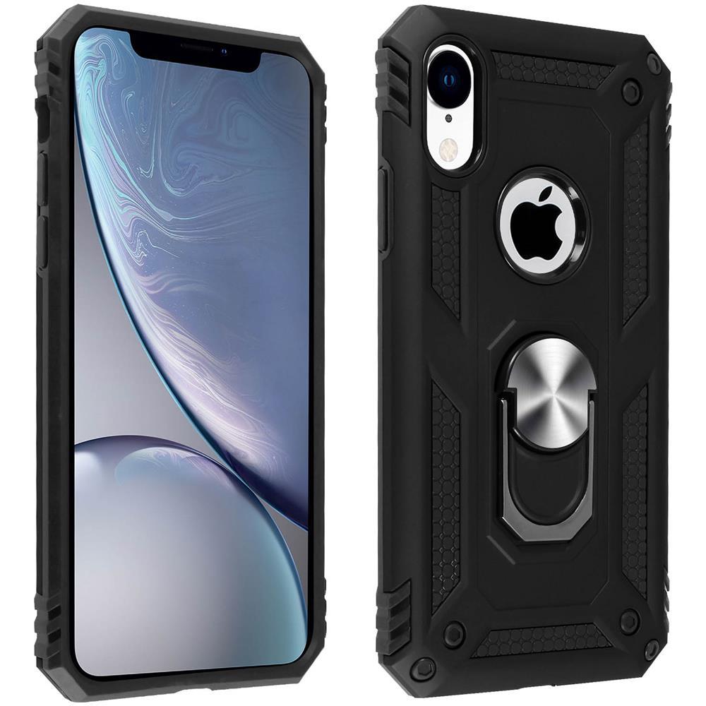 Avizar Cover Iphone Xr Bi-materia Rigida Morbida Anello Magnetico Stand Nero