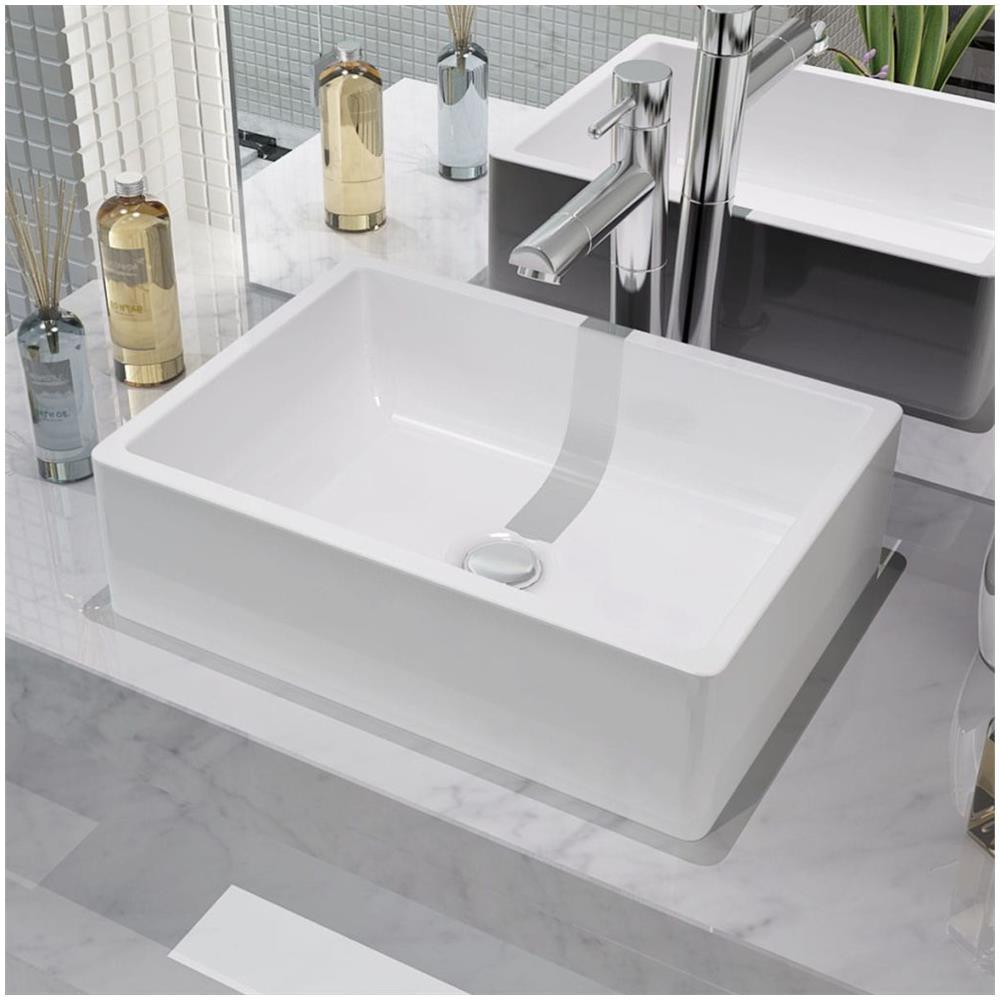 Lavello Cucina In Porcellana vidaxl lavandino in ceramica bianca 41x30x12 cm