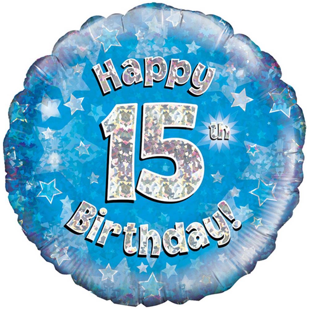 Oaktree Palloncino Blu Di Buon Compleanno Per I 15 Anni Taglia