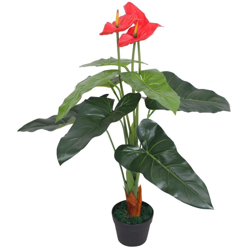 Anthurium Cura Della Pianta vidaxl anturium pianta artificiale con vaso 90 cm rosso e giallo
