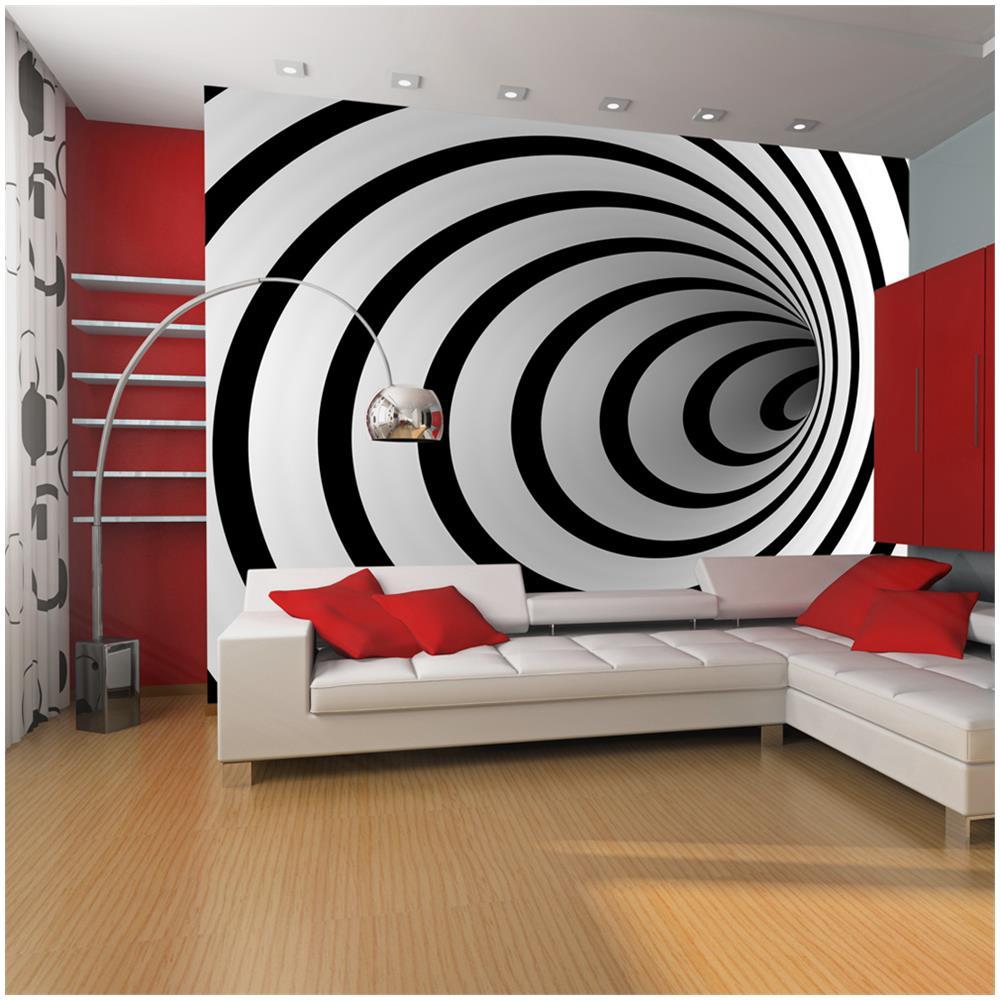 Camera Da Letto Bianca E Nera artgeist carta da parati tunnel bianco e nero 3d 200x154cm