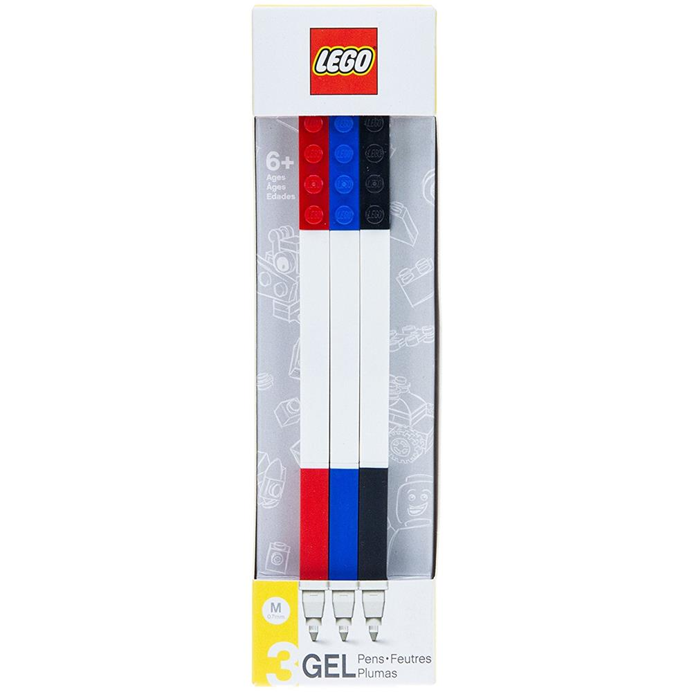 LEGO rossa+nera+blu 3 Gel Pens