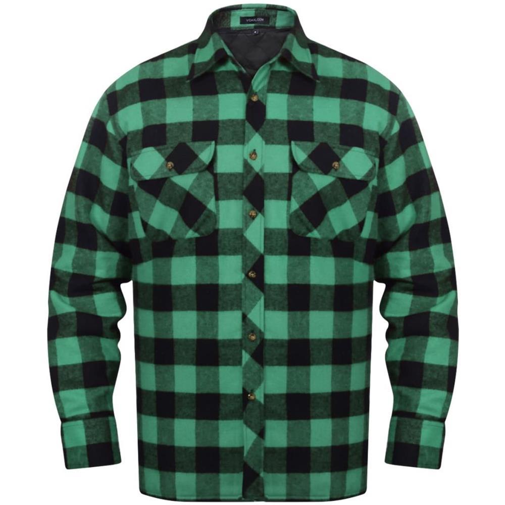 new products f36ac 41a0e Vidaxl Camicia Di Flanella Da Uomo Imbottita A Quadri Verde / nero Taglia L