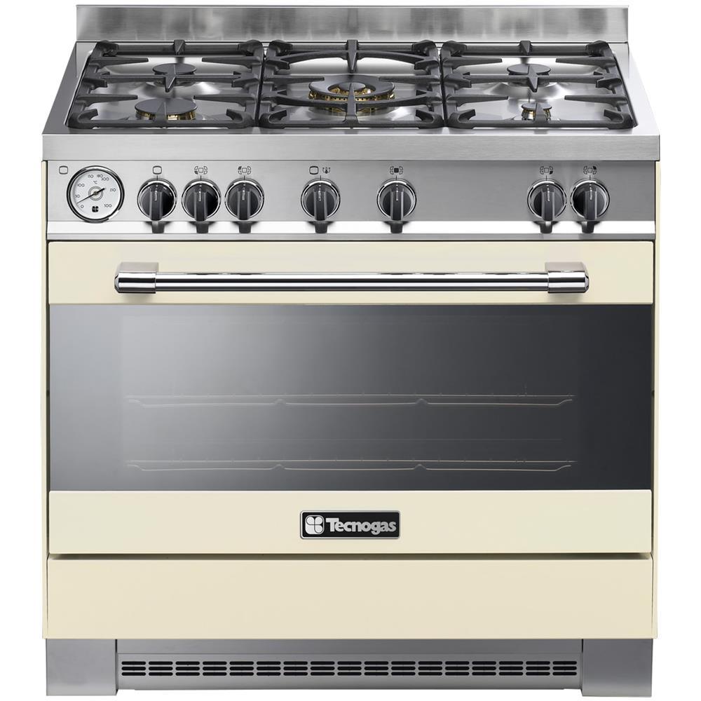 TECNOGAS   Cucina A Gas PRO90G5C 5 Fuochi A Gas Forno Gas Dimensioni 90 X 90  Cm Colore Crema Opaco   EPRICE