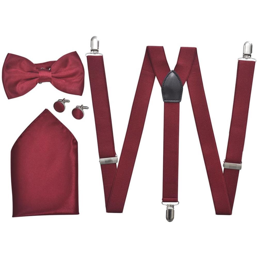 cerca autentico Vendita di liquidazione prezzo interessante Vidaxl Set Elegante Accessori Smoking Uomo Bretelle Papillon Rosso Bordeaux