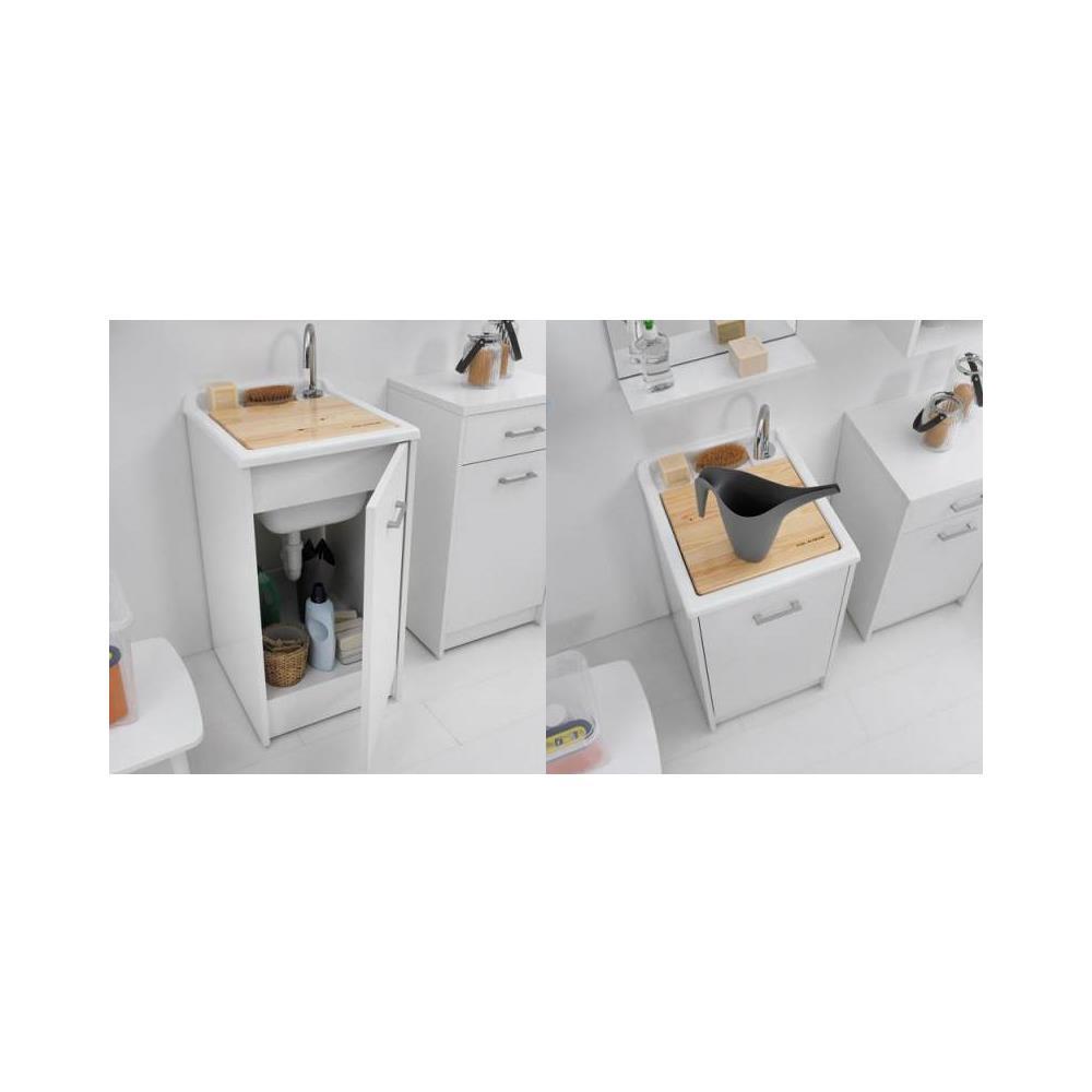 COLAVENE Lavapanni 60x60, vasca In Abs Metacrilato Lucido, asse In Legno, sifone Bianco Colavene
