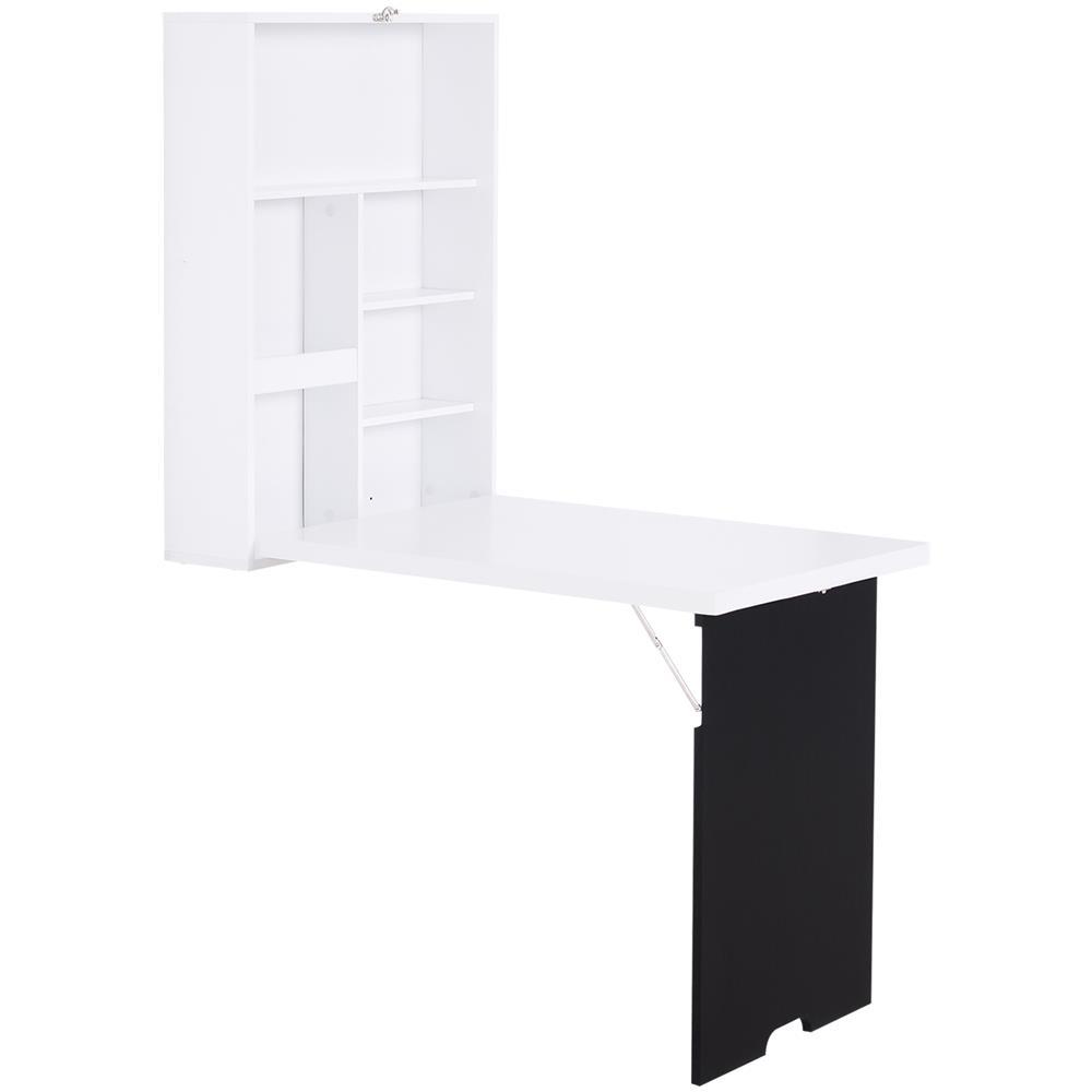 DREAMADE Tavolo da Muro Pieghevole Scrivania Pieghevole in Legno da Parete con Lavagna 60x15,5x75cm Bianco
