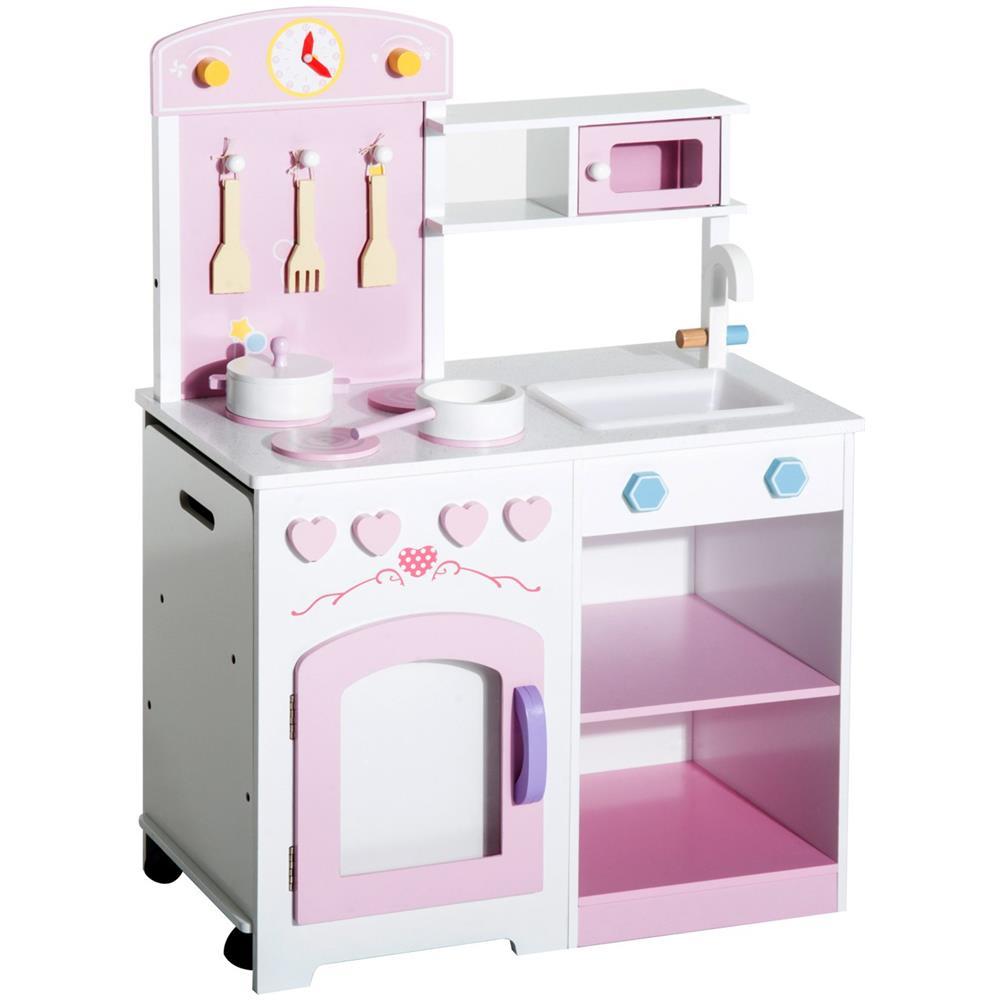 HomCom Cucina Giocattolo In Legno Per Bambini Con Sedia E Accessori,  60x35x87cm
