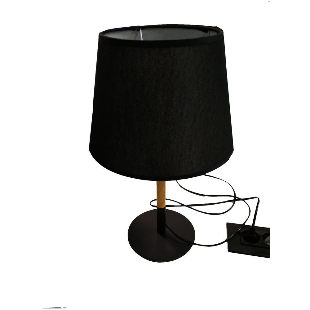 TAKESTOP - Lampada Xs7008 Tessuto Nero Conico Legno E27 Da Tavolo ...