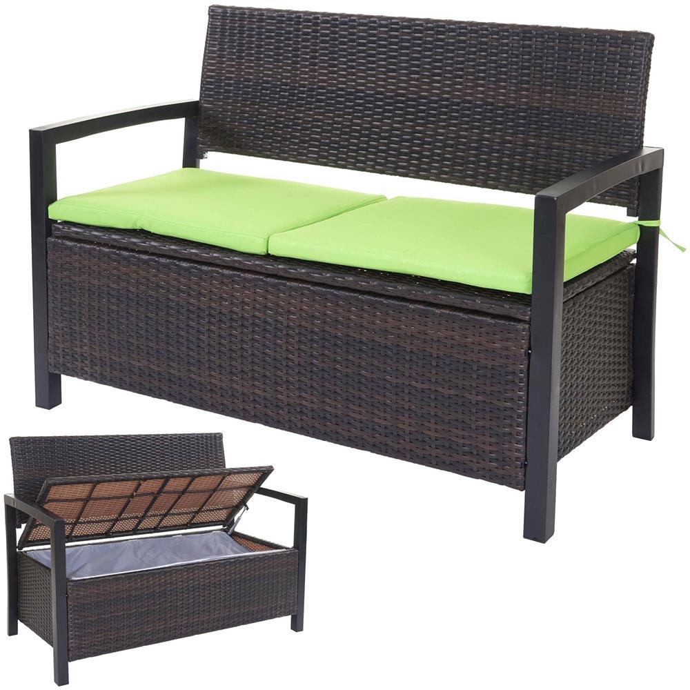 Panche Contenitori Da Giardino.Mendler Divano Sofa Contenitore Per L Esterno Hwc F39 Polyrattan Marrone Cuscini Verde Eprice