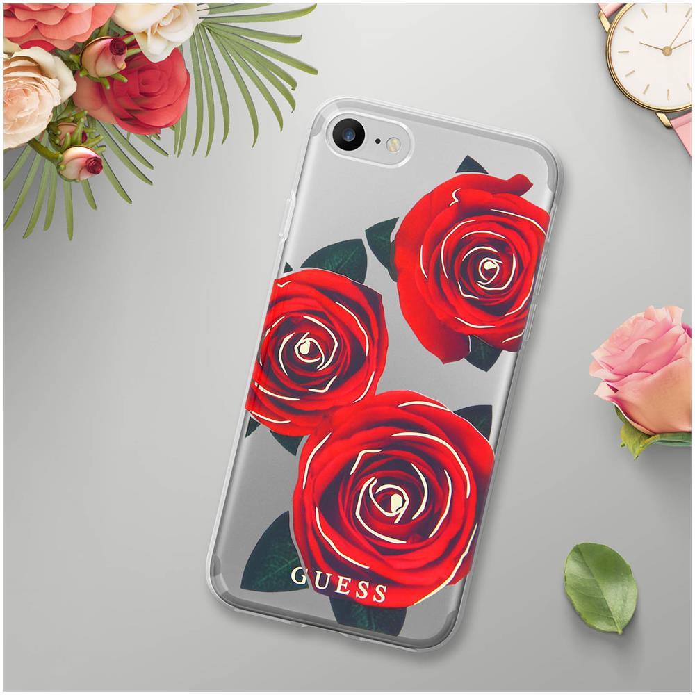GUESS Cover Iphone 7   8 Protezione Dorso E Contorni Motivi Rose Guess  Trasparente 45a5edcc92b2