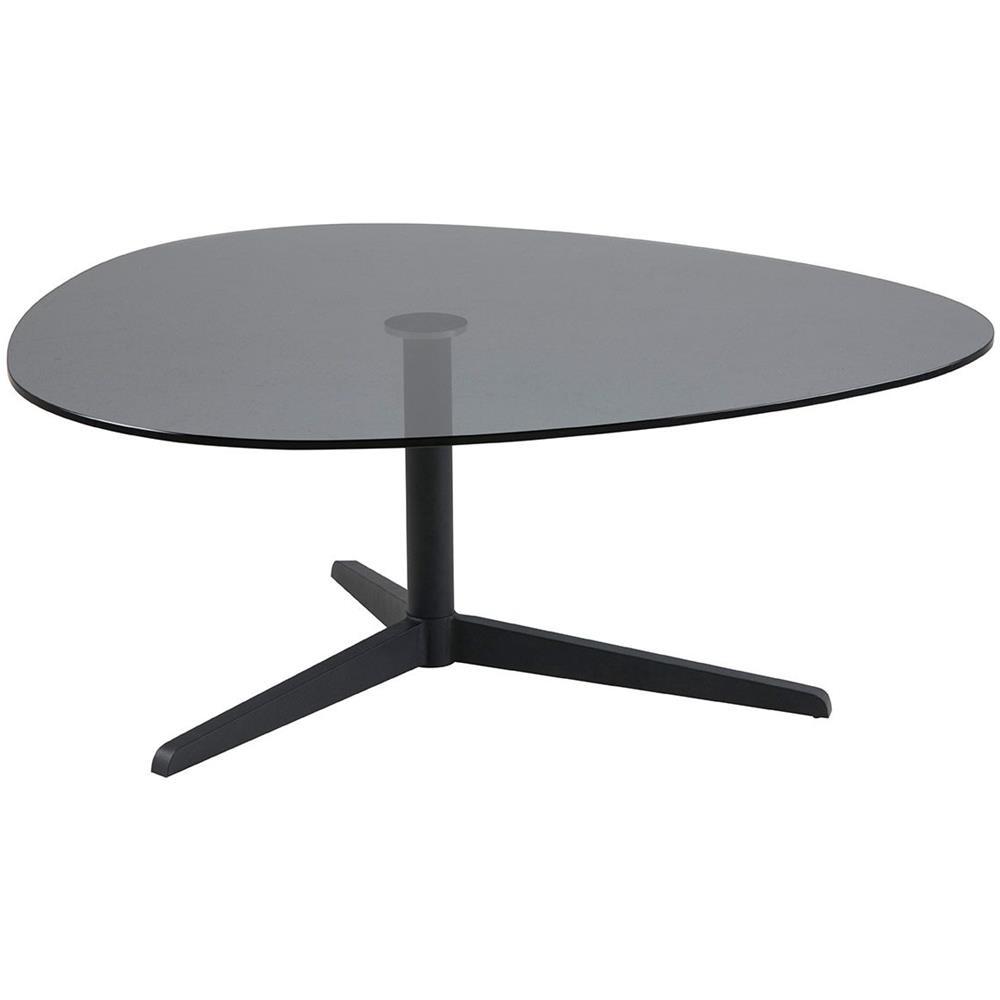 Tavolino Basso Design.Miliboo Tavolino Basso Design Forma Ovale Nero In Vetro Fume E Metallo Galet