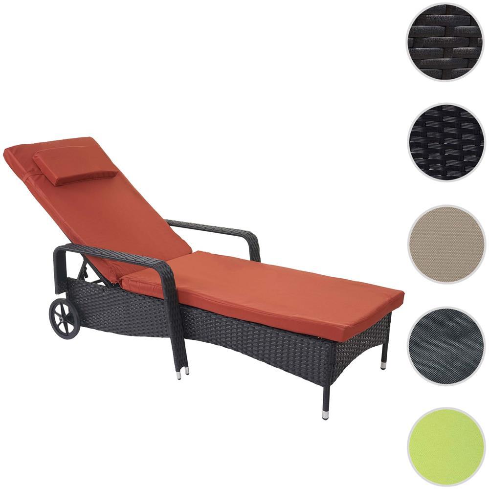 Cuscini Da Esterno Impermeabili mendler lettino regolabile da esterno carrara alluminio polyrattan  197x71x108cm antracite con cuscino terracotta