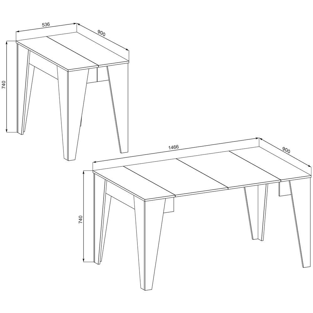 Dimensioni Standard Tavolo Cucina innovation tavolo tm, consolle da pranzo allungabile fino a 146 cm, colore  bianco, dimensioni chiuso: 90x53.6x74 cm di altezza
