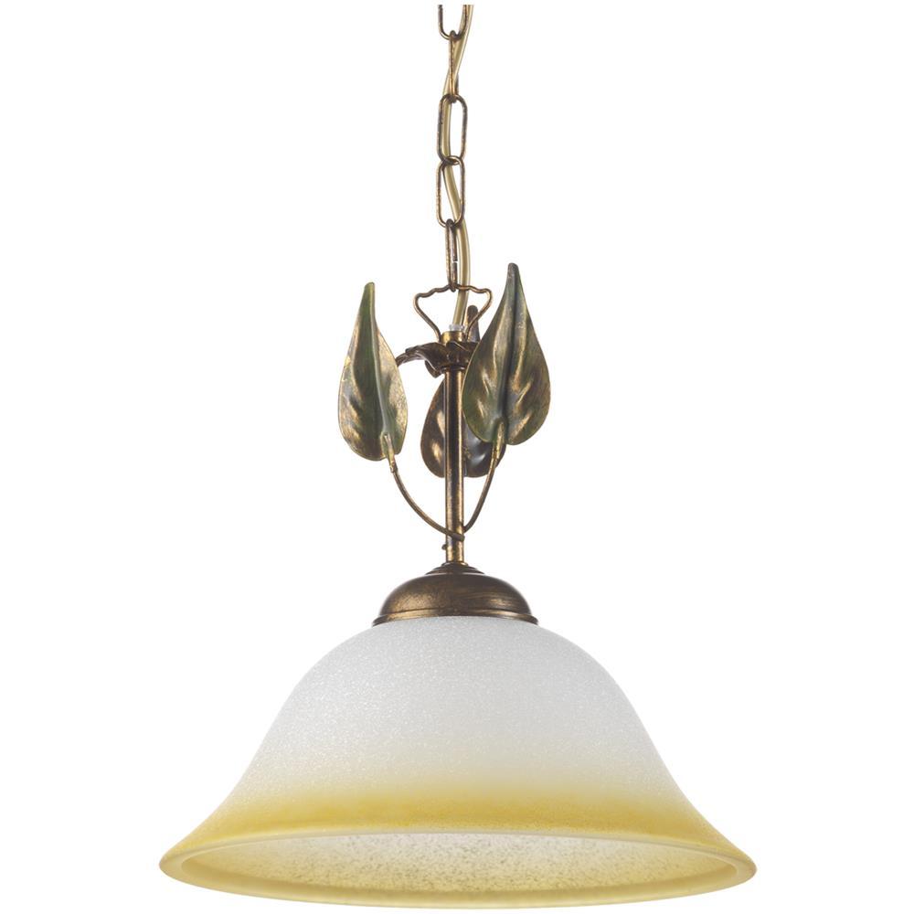 Lampade Da Soffitto Per Taverna onli lampada a sopensione stile classico in metallo marrone spennellato oro  e vetro a campana sfumato ambra diametro 30 cm