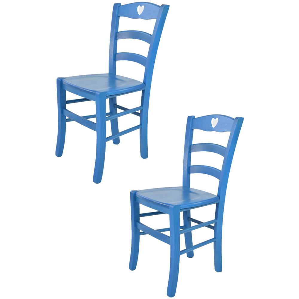 Tommychairs Tommychairs - Set 2 Sedie Classiche Cuore Per Cucina, Bar E  Sala Da Pranzo, Robusta Struttura In Legno Color Anilina Blu E Seduta In  Legno ...