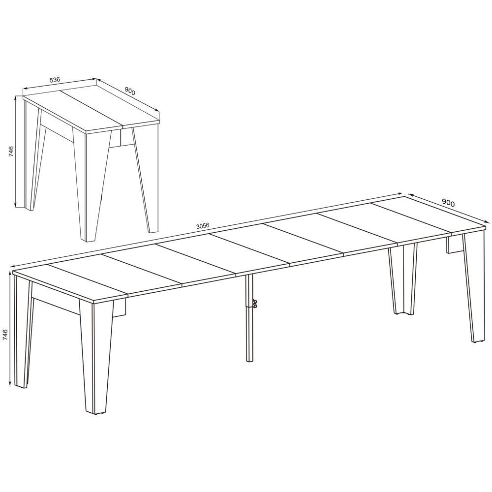 Dimensioni Tavolo Pranzo 12 Persone innovation tavolo tm, consolle tavolo da pranzo allungabile fino a 305cm,  bianco, dimensioni chiuso: 90x53.6x74.6x74.6 cm di altezza.