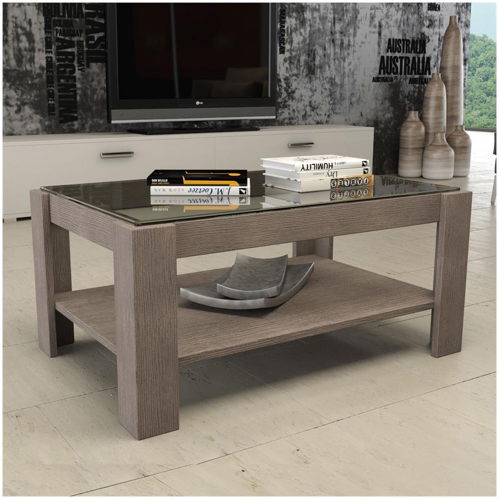 ARGONAUTA Tavolino Da Salotto In Legno E Vetro Larice Grigio 90x60xh. 41 Cm