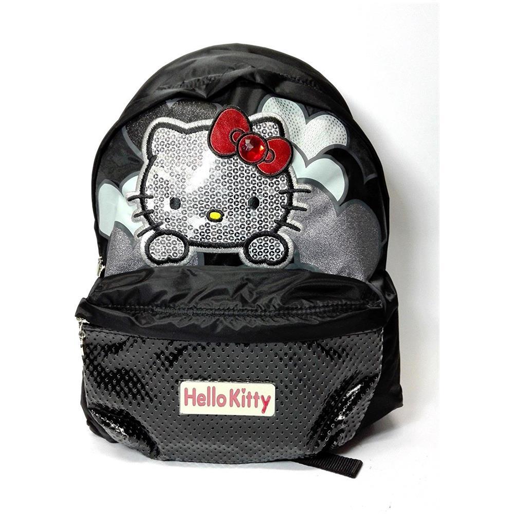 67c4b568c4 CARTORAMA Zaino Hello Kitty Nero Brillantini Chich - 2 Scompartimenti