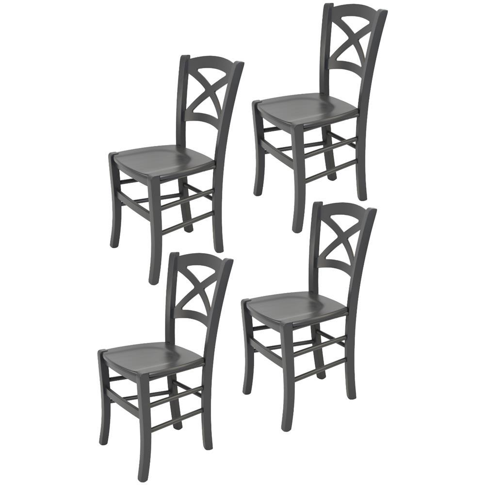 Tommychairs Set 4 Sedie Classiche Cross Per Cucina Bar E Sala Da Pranzo Robusta Struttura In Legno Di Faggio Levigato Color Grigio Scuro E Seduta In Legno Eprice