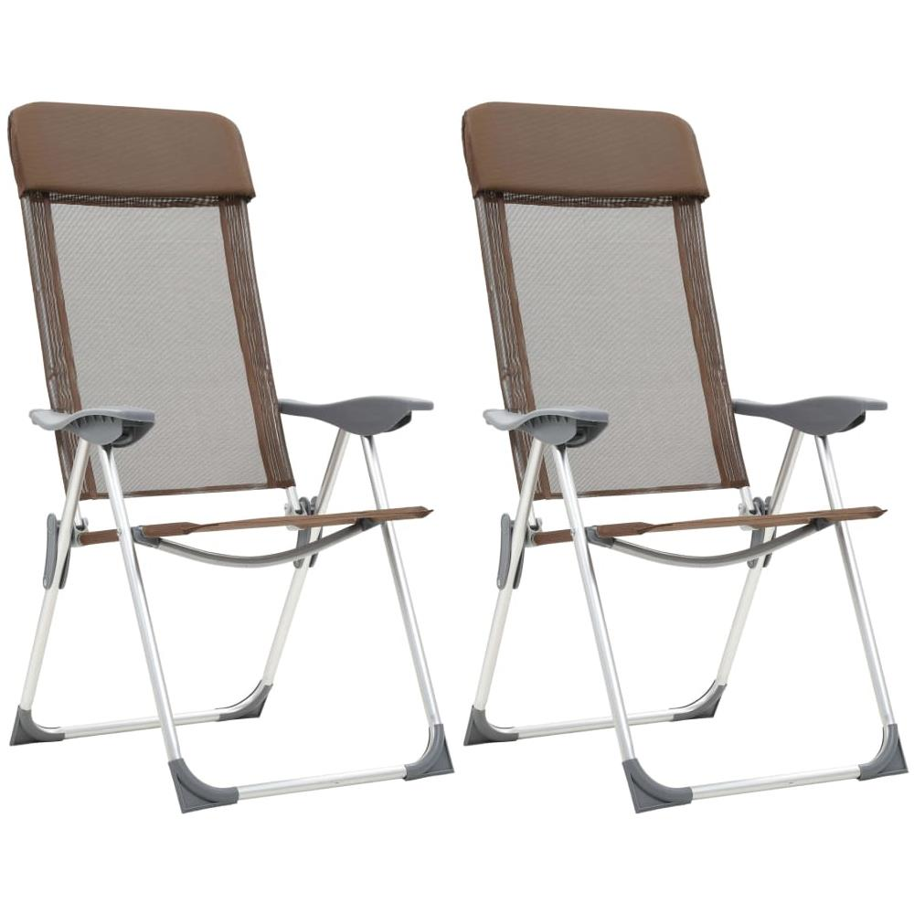 Sedie Pieghevoli Offerte Torino.Vidaxl Sedie Pieghevoli Da Campeggio 2 Pz In Alluminio Marrone